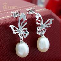 FUSSEM FINE JEWELRY 10*8mm Freshwater Pearl Stud Earrings Butterfly Style S925 Sterling Silver  FREE SHIPPING