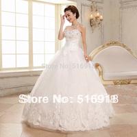 Free Shipping 2014 Distinctive Sweetheart White Ruffles Organza Bridal Ball Gown Wedding Dresss High Low Vestidos