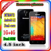 Free Shipping Dual Sim Lenovo S720 MTK6589 Android Phone 4.5inch 8MP Dual Camera Rom 4GB 1.2GHz 960*540 3 Colors For Choose