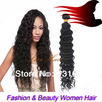 Free shipping wholesale price deep wave human hair/curly fashion hair extension 50g/pc 12-26 hair weft can be bleached or dyed