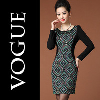 Women's Complex Digital Block Printed Thin Long-sleeved Dress Plus Size M-3XL Autumn 2013 European Stitching Beading Female