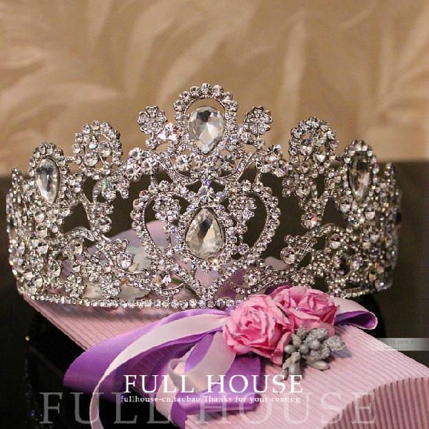 تيجان  فاخرة مرصعة بالماس 2014-New-Year-Vintage-Oversize-Rhinestone-Bridal-Tiara-Wedding-Hair-Accessories-Crystal-Pageant-Crowns-Wedding-Tiaras