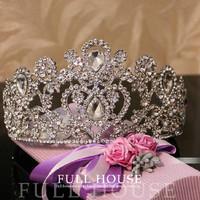 2014 New Year Vintage Oversize Rhinestone Bridal Tiara Wedding Hair Accessories Crystal Pageant Crowns Wedding Tiaras and Crowns