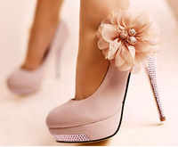 Pink and Beige Color Sweet Women Platform Rhinestone Flower Pumps Hight Thin Heels Wedding Party Shoes