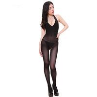 Free shipping Women Sexy Black Ultrathin open crotch clothes Sleepwear