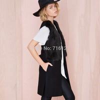 FREE SHIPPING new 2014 autumn winter Plus Size simple fashion stitching woolen  women wool coat XS-XXL