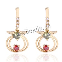 Free shipping!!!Brass,creative jewelry, 18K gold plated, with cubic zirconia, nickel, lead & cadmium free, 15mm, Sold By Pair