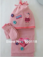 Free Shipping Retail 3pcs/lot Baby Girl peppa pig scarf +cute hat+gloves  Sweet striped scarves Winter wear