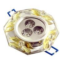 Led 3w crystal downlight /Circle ceiling lamp light/ crystal aisle light/ Square White crystal+yellow flower spot light led lamp