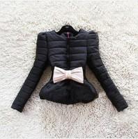 Free shipping hot selling 2014 women's winter bow Puff Short Korean women's coat new fashion jacket down jacket     B02