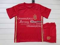 Thailand quality 2014 Spain Kids kits,New Arrived 2014 Spain children football unifroms red