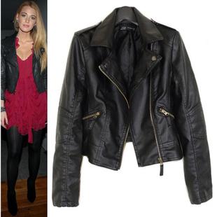 2014 Новый женский мотоцикла кожаные куртки пальто S-XXL 5 Размер Короткие Пункт ...