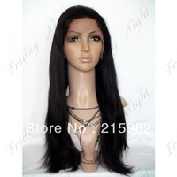 Wholesale peruvian virgin hair straight human hair wig glueless lace front wig with baby hair combs for african americans
