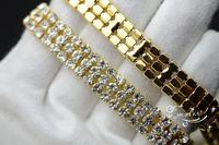 Free shipment 3 row crystal rhinestone close chain trims golden x 1 yard