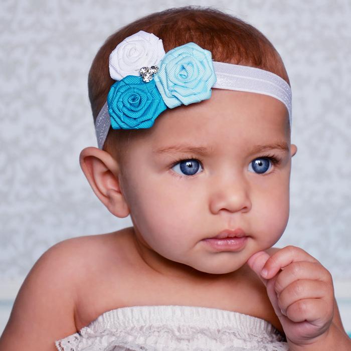 Baby Flower Headbands Girls Headwear 3Satin Flower Head Band Girls Hair Accesorries 10PCS/LOT Free Shipping(China (Mainland))