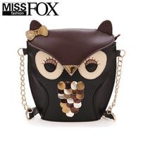 New mini owl fox cartoon Bags Vintage Color Block Handbag Women messenger bag Leather Cheap Shoulder Bags Free/Drop Shipping