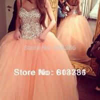 Vestido De Festa Charming Sweetheart Ball Gowns Beaded Crystal Peach 2015 Floor Length Tulles wedding Dresses