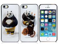 3D Glittery Panda Print Plastic Case for iPhone 5S/5 (Black)