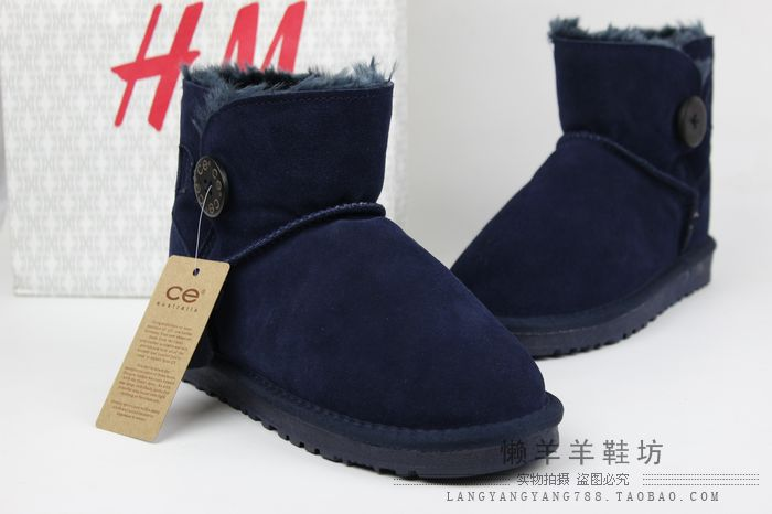 Free shipping 2014 cheap winter boots snow boots cotton-padded shoes female casual snow boots button blue(China (Mainland))