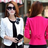 2014 autumn slim women's double breasted short design long-sleeve cardigan blazer female short jacket woman coat Free Shipping