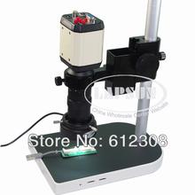 2.0MP 8X-100X HD indústria Microscope Camera VGA USB AV saída de vídeo TV + C-Mount Lens + Stand titular + 40 LED anel direito F PCB(China (Mainland))
