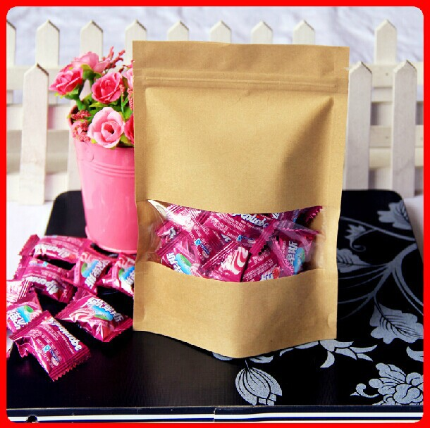 Wholesale 14*22+4 Kraft Paper bags ziplock coffee bags standup pouches 250g food bags 100pcs per lot(China (Mainland))