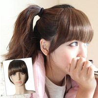 Wholesale 10pcs/lot  false bang with sideburns New fashion Women's girl's clip in hair extentions neat fringe hairpiece