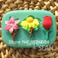 Free shipping rose little tender lily turn sugar mould liquid silicone sugar sugar mode
