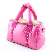 2013 women's handbag female winter thermal down bags space women's handbag one shoulder handbag women's rabbit fur handbag