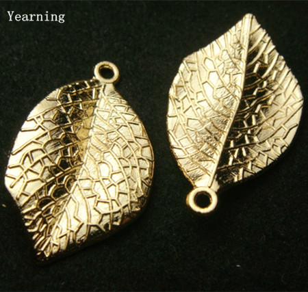 Yearning Accessories Zinc Alloy Gold Leaf Charms Pendants Fit Necklace Bracelet 33*20MM 30pcs/lot(China (Mainland))