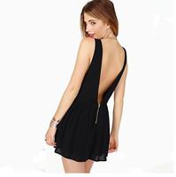 new 2013 Fashion pumping racerback zipper V-neck sleeveless chiffon jumpsuit Black shorts free shipping