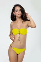 Free shipping sexy bikini for ladies Gold Metal Anchor Hot sale swimsuit yellow beachsuit push up swimwear wrinkle beachwear SML