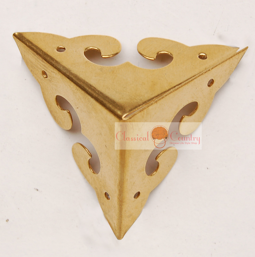 """1.77"""" Brass Hardware Copper Corners Brackets for Chinese Furniture Cabinet Trunk Jewelry Box Chest 3-Sides(China (Mainland))"""