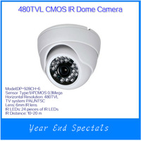 Clearance Sales+ free shipping PAL/NTSC Indoor Security IR Dome Camera 480TVL 1/4 CMOS 24 IR LED 6mm Lens DP-928CH-6