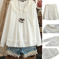 2014 new women blouse white color women shirts lace women clothing v209  free shipping