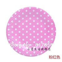 "Free shipping 7"" (18.5cm) Pink Polka Dot Round Eco-friendly Paper Plate,Disposable Party Paper Pate,Wedding Party,100pcs/lot"
