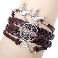 2014 New Fashion Infinity Wish Tree Couple Bird Charms Bracelets Bangles Leather Bracelet Multilayer Women Ladies Bracelet Brown