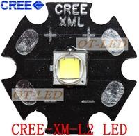 Free shipping!5PCS  CREE Xlamp XML2 XM-L2 T6 U2 10W WHITE  High Power LED Emitter Bulb with 20mm Heatsink For Flashlight/DIY