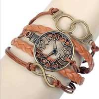 Hot Sale !! Wholesale Cheap 2014 New Vintage Retro Clock Woven Braid PU Leather Fashion Bracelets Bangles Set Women Ladies Brown
