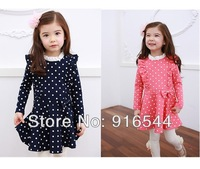 New Lovely Baby Toddler Girls Spotted Dress Long Sleeve For 1-6 Years
