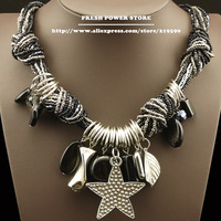 2014 Bijouterie Metal Star Pendant & Stone Accessories Black Bead Chain Antique Silver Statement Chunky Necklaces for Women Girl