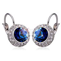 Hot LQ Fine Jewelry Dark Ink Blue Color Fashion Earrings Moon River 18K White Gold Elegant Design Crystal Earrings for Women