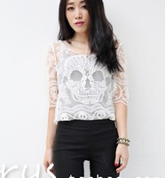 2014 new fashion Hollow lace embroidery Perspective Short  Skull women tee Blouse Shirt Sexy Retro Top Floral Crochet