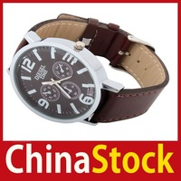 super fashionable [ChinaStock] New Men Women 4.5CM Round Shape 4 Dial Watch PU Leather wholesale Limited Sales!