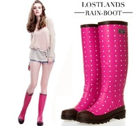 EU Quality Round Dots Design High Rain Boots for Ladies