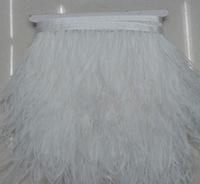 "Free Shipping 10meters 5-6"" 13-15cm width Pure White Ostrich Feather fringe Ostrich feather Trimming"