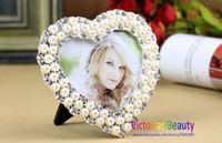 Victorias pearl rhinestone photo frame, European style, fancy frame, heart shape frame, wedding gifts , Free shipping