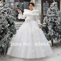 Winter beauty bride the latest big code XXXXL winter long fur collar thickened white, cotton gauze free shipping