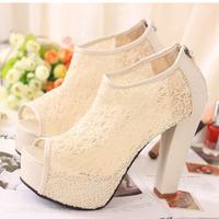 Women's fashion platform thick heels tassel open toe shoes women ladies high-heeled shoes