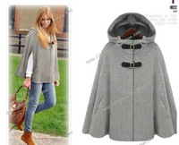 FASHION WOMENS Elegant Wool Blend Hooded Oversize Poncho Cloak Cape Bat Coat